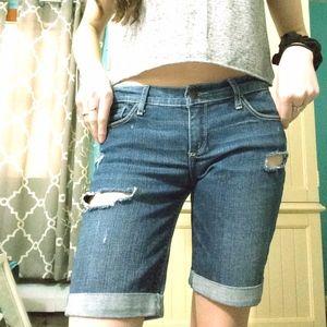 Abercrombie & Fitch Long Denim Shorts